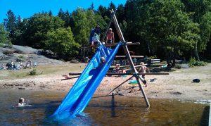 Camping Zweden: waterglijbaan